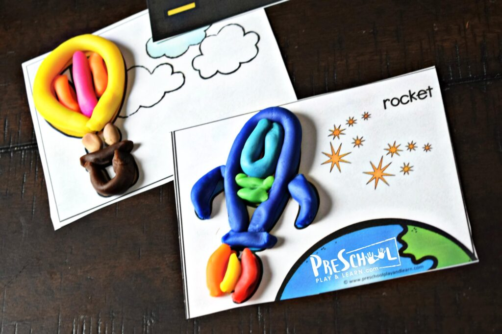 hot air balloon and rocket or spaceship playdough mat