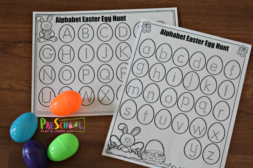 Free printable letter recognition games to play with plastic Easter eggs.