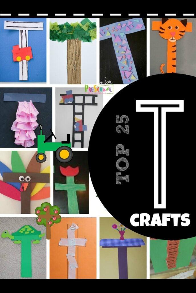 TOP 25 Letter T Crafts - so many clever alphabet crafts for letter of the week unit for letter t perfect for toddler, preschool, kindergarten crafts for kids #alphabet #craftsforkids #preschool