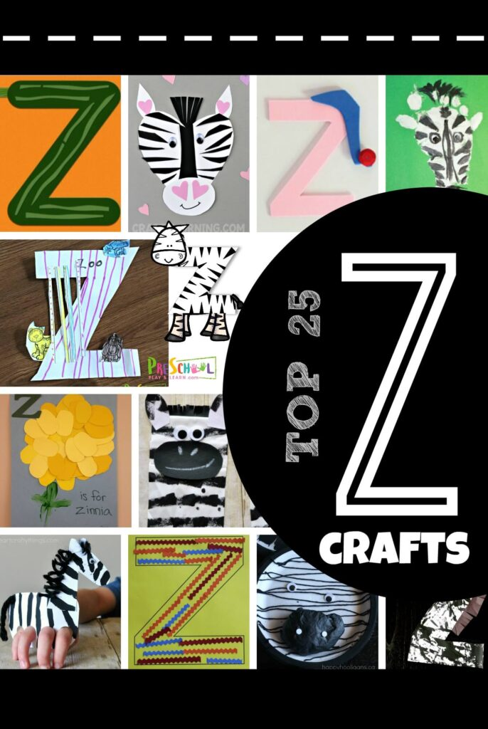 TOP 25 Letter Z Crafts - lots of fun, clever crafts for kids to go along with any letter of the week unit including zebra, zoo, zig zag, zinnia, and more! #alphabet #craftsforkids #preschool