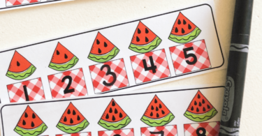 summer watermelon math number lines