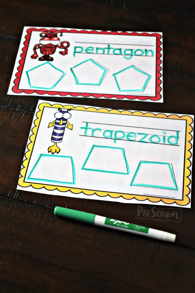 These monster trace and erase shape worksheets are a fun way for kids to practice shapes.