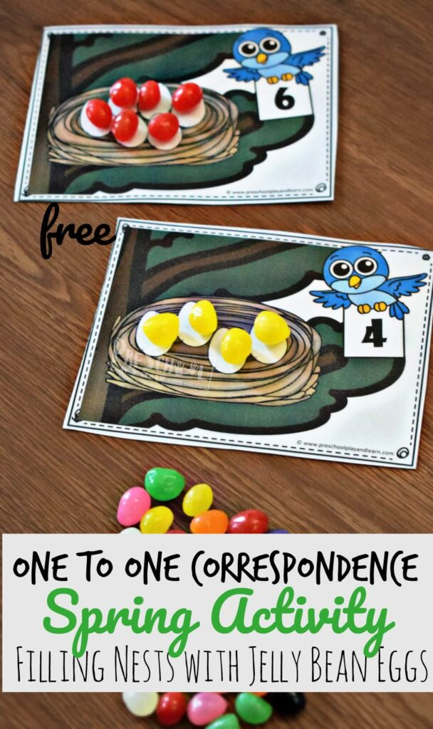FREE One to One Correspondence Spring Activity for kids - this fun, hands on math activity for preschoolers, toddler, and kindergarten age kids make it fun to learn about math #math #preschool #springactivity