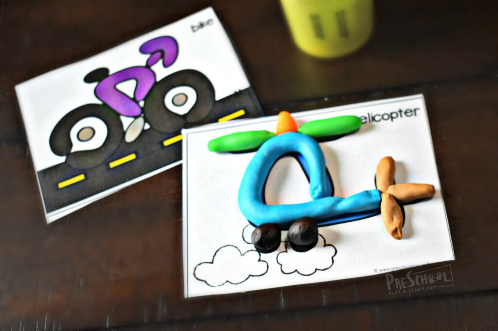 Bike and helicopter playdough mats for toddler, preschool, and kindergarteners