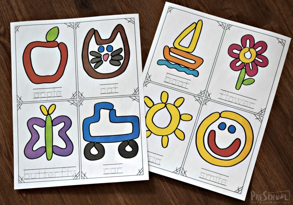 Start out by printing the playdough printables in color on cardstock or laminate for durability.