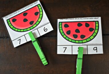 This preschool counting activity uses summer favorite, watermelon theme.