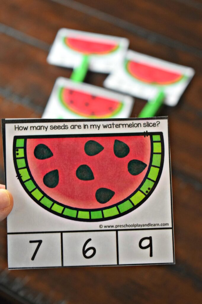 This preschool math activity is perfect for summer learning.