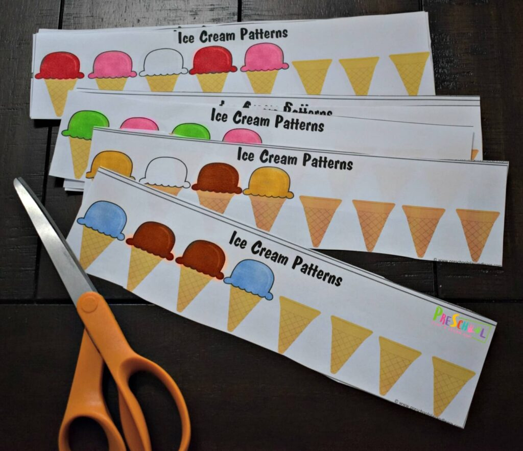 Preschool pattern strips for summer.