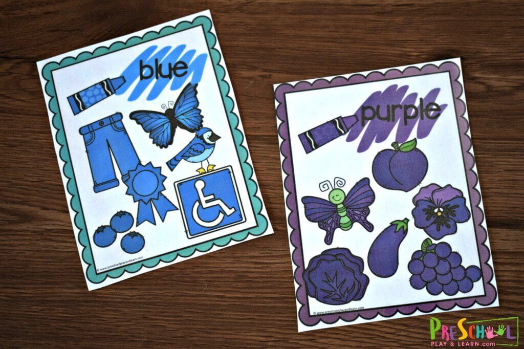 printable color chart for kindergarten to learn colors like blue and purple with clipart that matches the colors on each card