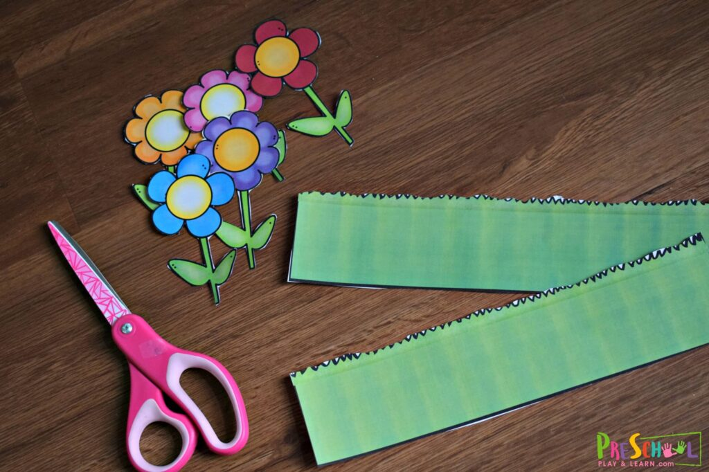 Cut out the pieces in the printable flower craft