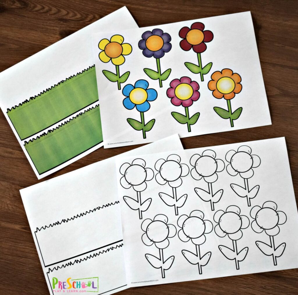 Start out by printing the free printable flower template in color or black and white.