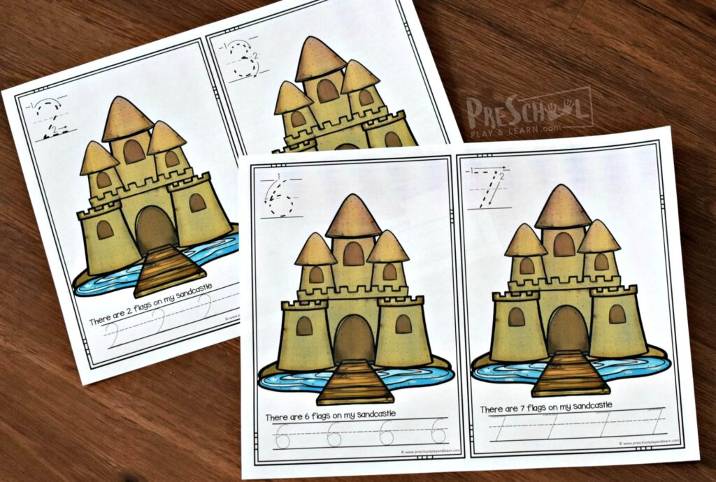 Super cute, free sandcastle printable for preschoolers