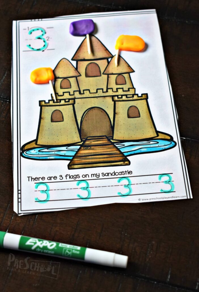 FREE FREE Sandcastle Count & Trace Playdough Mats — Fun summer themed practice tracing numbers, counting to 20, and strengthening hand muscles with playdough activity for preschool, prek, kindergarten age kids! Summer math is fun! #mathactivity #kindergarten #preschool