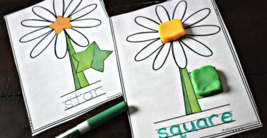 These super cute flower shape playdough mats are such a fun shape activity