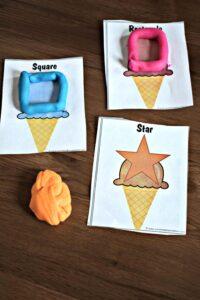 Fun summer shape ice cream playdough mats