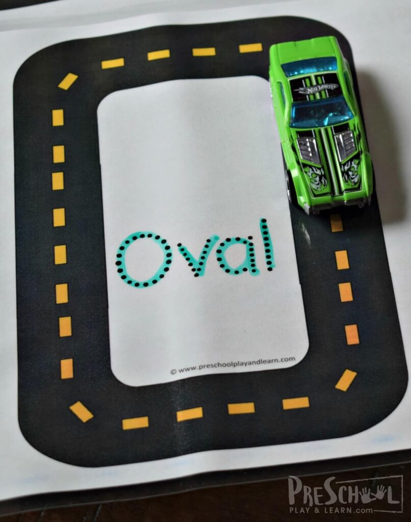 After kids have had a chance to use a car to trace the shape, have them trace the shape name with a dry erase marker.