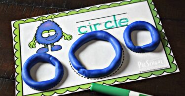 now use a dry erase marker to trace the shape name on the shape printables for preschoolers