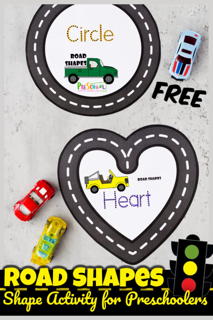 This outrageously fun shape activity for preschoolers uses our free printable road shape mats to practice making shapes and learning shape names too! The tracing shapes activity uses a hot wheel car to trace shape using these free printable Road Shape Mats. This learning shapes is such a fun, hands-on shape activities for kindergarten, pre-k, preschool, and toddler age students. Simply print pdf file with shape printables and you are ready to play and learn with this car activity for toddlers.