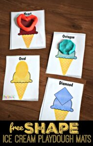 FREE Shape Ice Cream Playdough Mats - super cute hands-on math activity for preschoolers, toddler, and kindergarten age kids to sneak in some summer learning. These playdough mats are free! #preschool #shapes #playdoughmats
