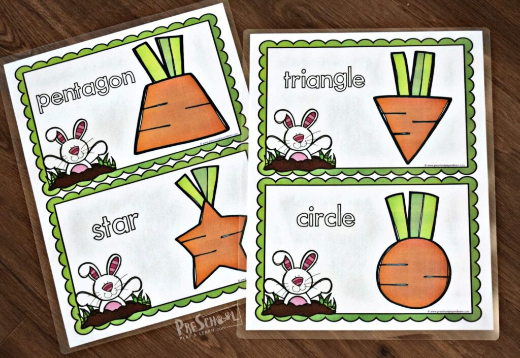 This super cute shapes for preschoolers printable is perfect for spring or Easter themed learning activity