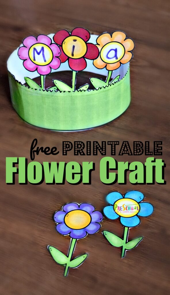 FREE Printable Name Flower Craft - super cute name craft for toddler, preschool, and kindergarten age kids to learn their name, spring or summer hat craft, adorable flower craft, or just a fun crafts for kids of all ages #craftsforkids #flowercrafts #preschool
