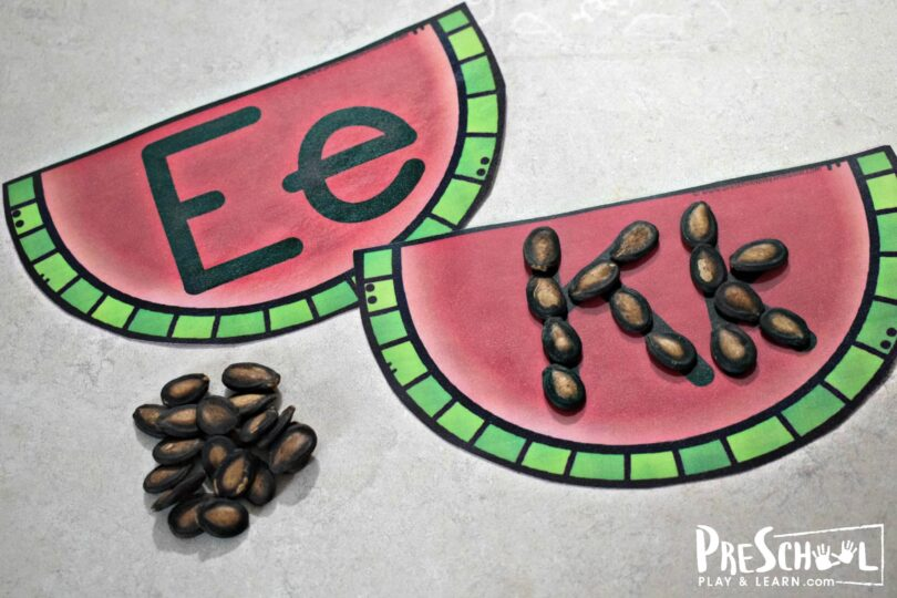 This super cute watermelon alphabet activity is fun practice for toddler, preschool, and kindergarten age kids.