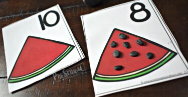 Simple watermelon counting activity with playdough mats