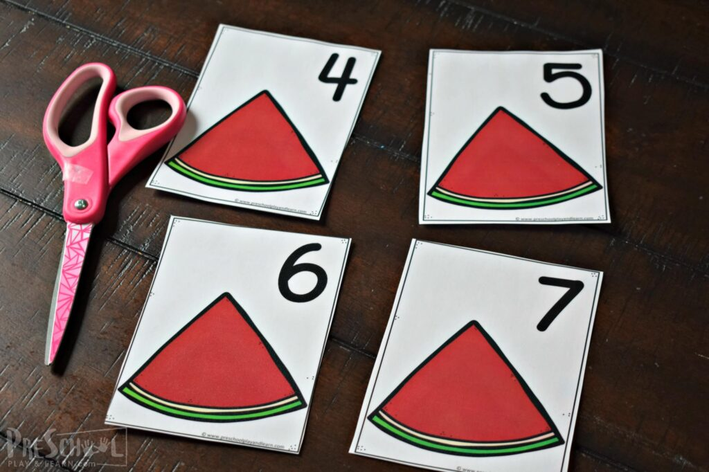 free watermelon printable for preschool math