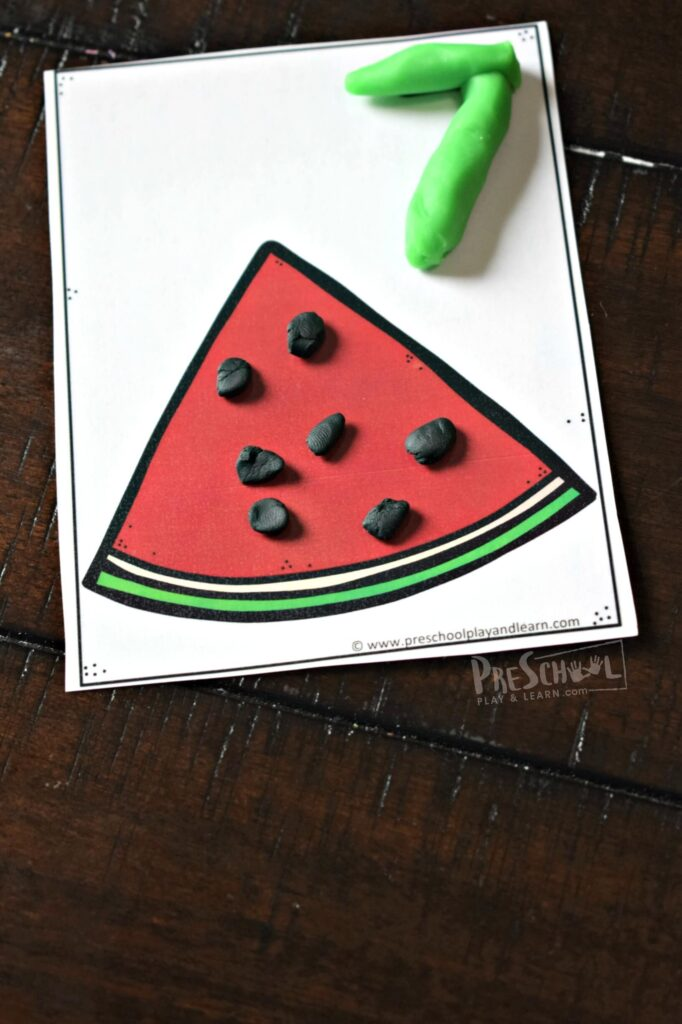 This fun watermelon seed counting to 15 activity is such a fun summer learning activity for young kids.