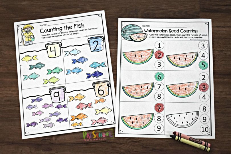 FREE Summer Preschool Worksheets are such a fun way for preschoolers and kindergartners to practice math this summer