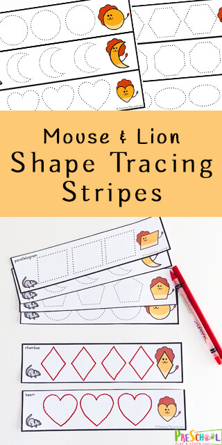 FREE Mouse and Lion Tracing STrips - Kids will have fun practicing making shapes with these FREE Mouse and Lion Shape Tracing Strips perfect for preschool and kindergartners. #shapes #preschool #kindergarten