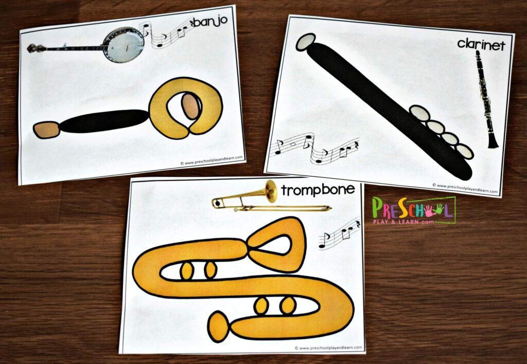These music instruments for kids flashcards help kids see the actual instrument plus make one themselves with playdough.