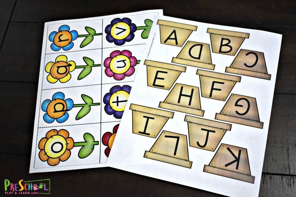 Super cute spring or summer alphabet printable for preschool and kindergarten age kids.
