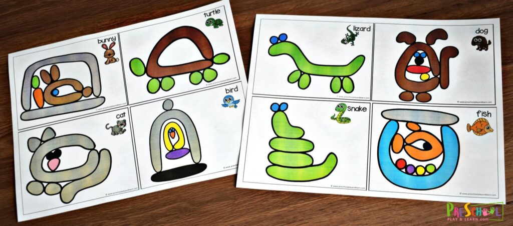 Super cute animal printables for kids to use playdough to make the animals.