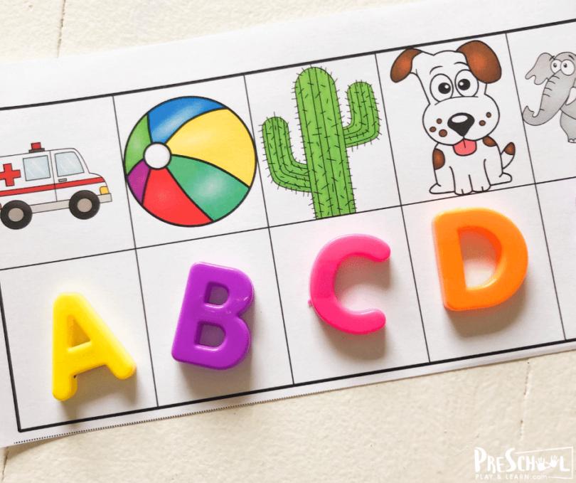 Fun, hands on beginning sounds activity for preschoolers and kindergartners