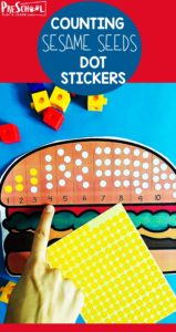 FREE Cheeseburger Seeds Count to Ten - super cute free printable preschool math to practice counting to 10 with a fun, hands-on activity #preschool #preschoolmath #countto10