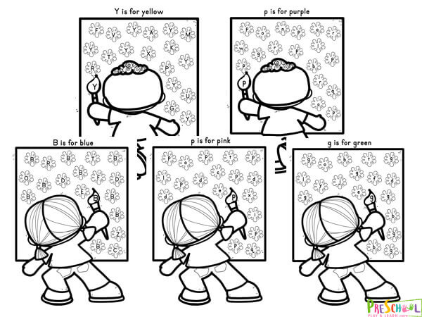 Print these color worksheets in black and white to help kids practice color recognition
