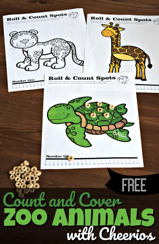 FREE Count and Cover Zoo Animals with Cheerios - such a fun math game for toddler, preschool, and kindergarten age kids to practice one to one correspondence and a number line #preschool #counting #mathgames