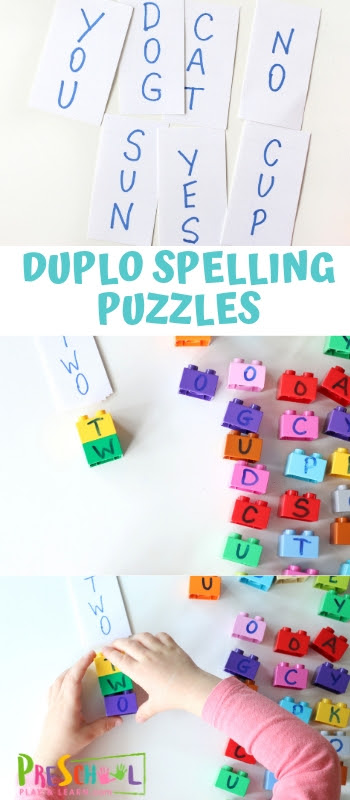 Early learners will have fun practicing building words with dublo blocks with this fun, hands-on spelling activity. Make Duplo Spelling Puzzles to learn letters and spelling as well as learn how to read simple 3-4 letter words. This is a super quick to set-up preschool spelling or spelling games for kindergarten. This lego spelling activity works with any spelling word list and any type of brick blocks you have on hand!