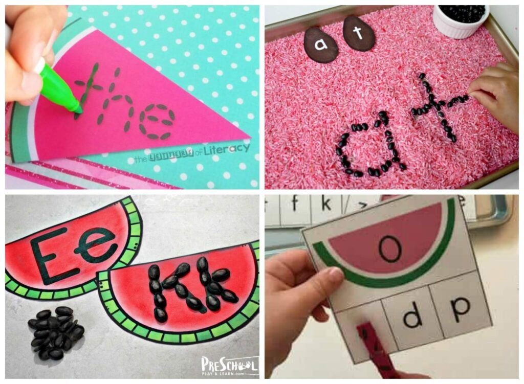 So many fun educational watermelon activities including letter matching, alphabet practice, and sight words