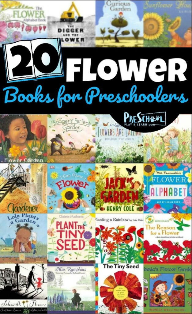 20 Flower Books for Preschoolers - so many great book recommendations for toddler, preschool, prek, and kindergarten age kids perfect for spring and summer #booklist #bookrecommendations #preschoolbooks
