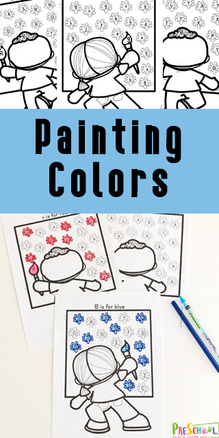 FREE Painting Colors Worksheets - these are such cute preschool worksheets to help kids learning colors #learningcolors #preschool #preschoolworksheets