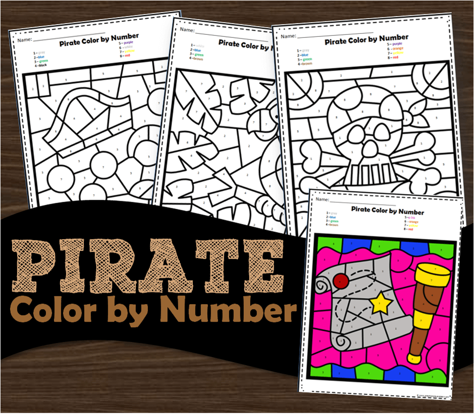 Pirates color by number worksheets for kids