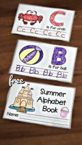 FREE Summer Handwriting Worksheets - this printable summer alphabet book makes it fun for preschool and kindergarten kids letter practice #summer #preschool #alphabet