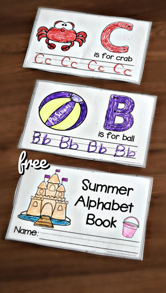 FREE Summer Handwriting Worksheets - Kids will have fun practicing tracing letters with these super cute, free printable, Summer Handwriting Worksheets for Kids. With cute clipart, space to practice both upper and lowercase letters, plus the ability to make the ABC Printable into a Summer Alphabet Book A to Z this is sure to make summer learning fun for toddler, preschool , pre k, and kindergarten age students.
