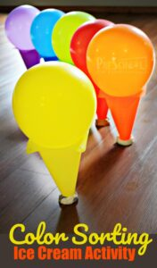 Color Sorting Ice Cream Activity - super cute and clever math activity for toddler, preschool and kindergarten age kids to work on color recognition #preschool #kindergarten #colors