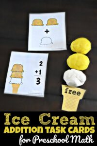 FREE Ice Cream Addition Task Cards for Preschool Math - this is such a fun, hands on math activity for preschoolers to practice basic addition within 10 using playdough for summer learning #playdough #addition #preschool