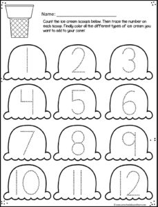 Ice Cream Cone trace numbers 1-12 summer worksheets for preschoolers