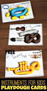 FREE Instruments for Kids Playdough Cards - these playdough mats are a fun way for toddler, preschool, kindergarten, and first grade kids to learn about musical instruments while having fun! #playdough #musicforkids #playdoughmats