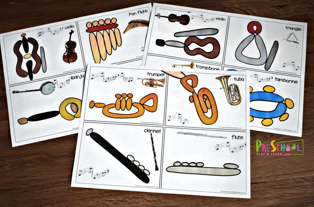Music worksheets to introduce kids to musical instruments